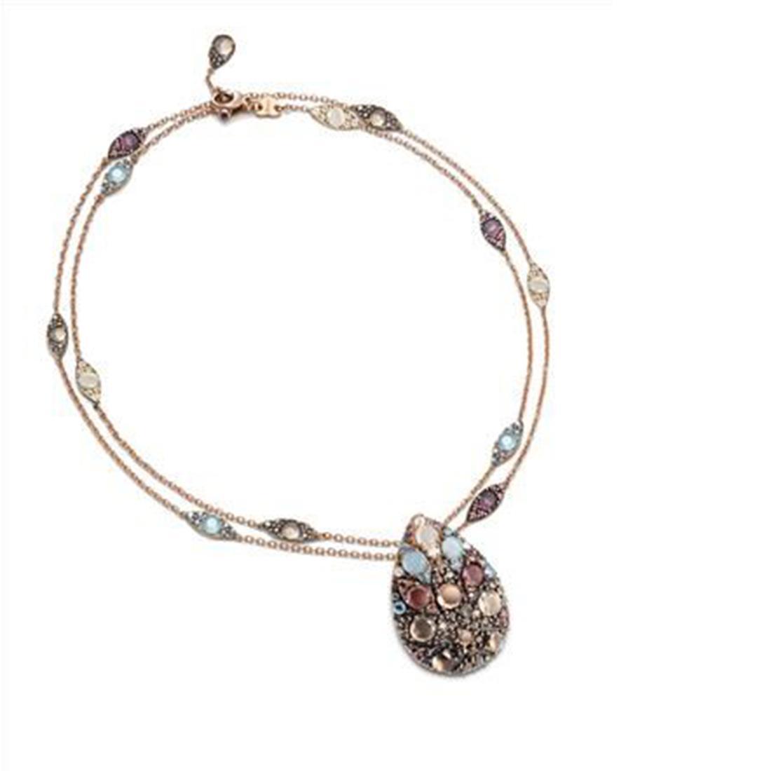Collana in oro rosa fantasia mandala con rubini ct 0.06 - PASQUALE BRUNI