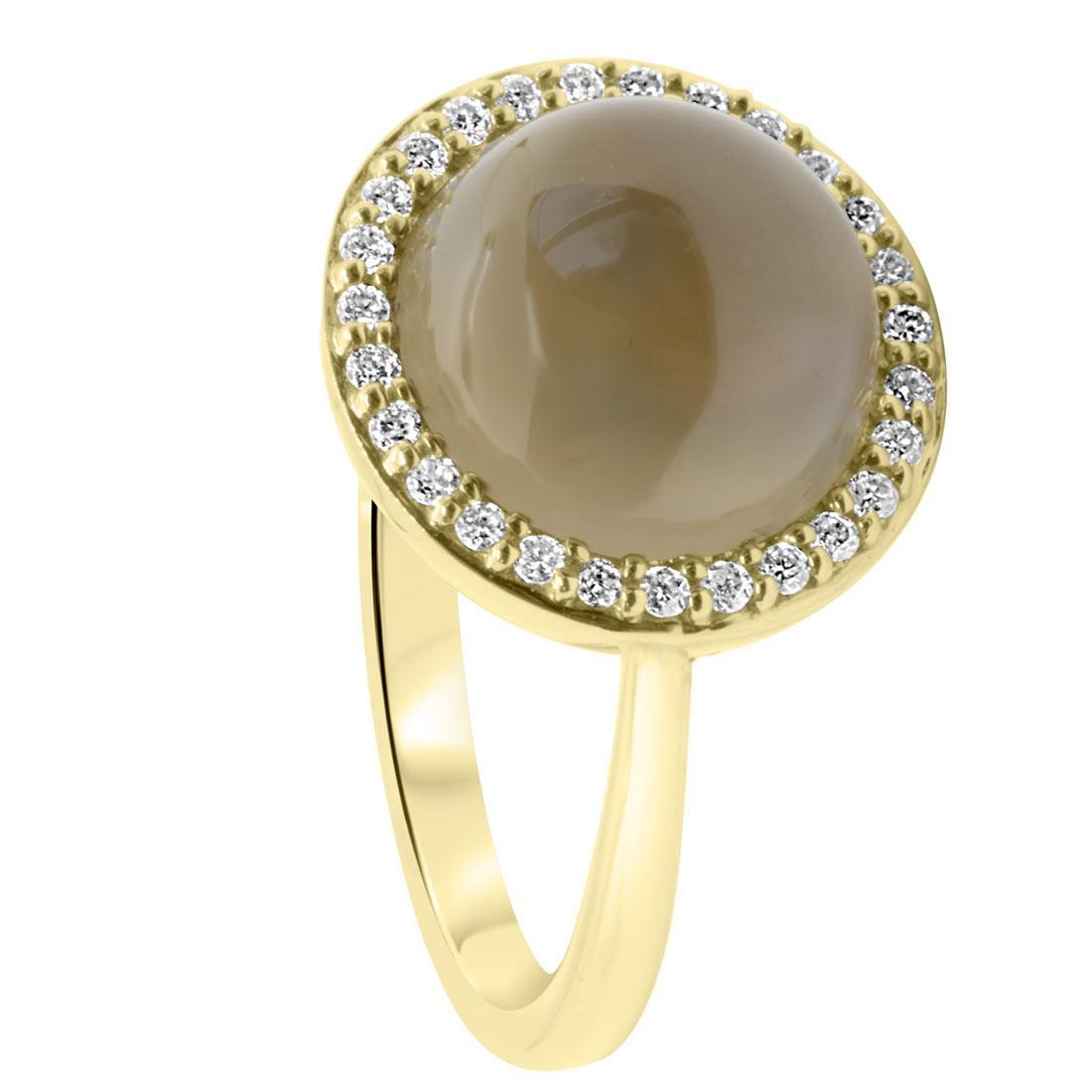 Anello in oro giallo con quarzo fumé e diamanti mis 14 - ORO&CO