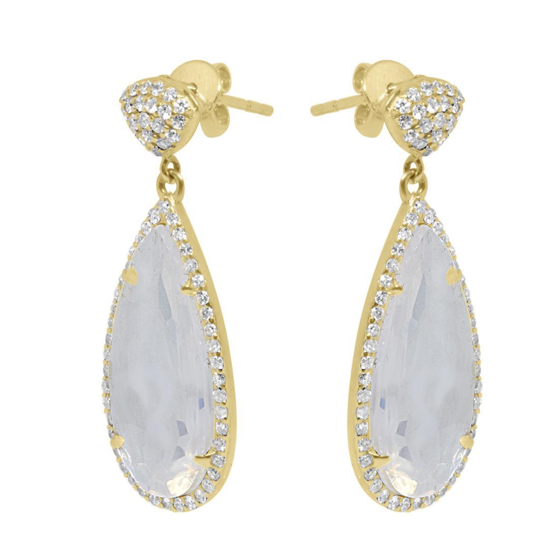Orecchini in oro giallo con diamanti ct 0.66 e pietra - ORO&CO