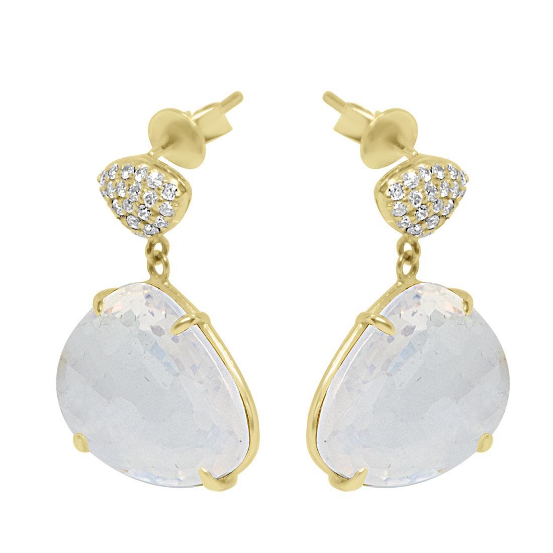 Orecchini in oro giallo con diamanti ct 0.21 e pietra - ORO&CO