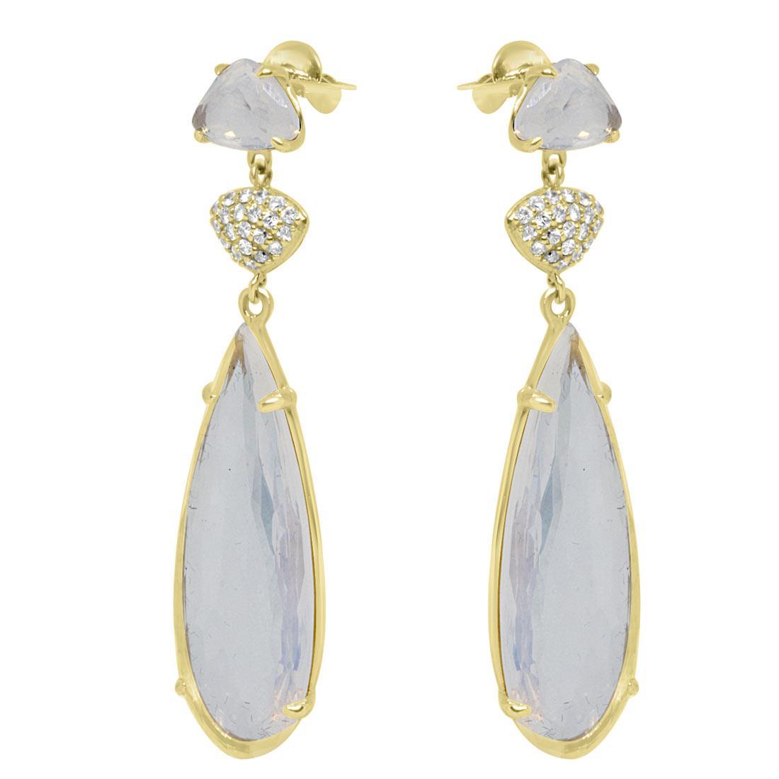 Orecchini in oro giallo con diamanti ct 0.21 e pietre - ORO&CO