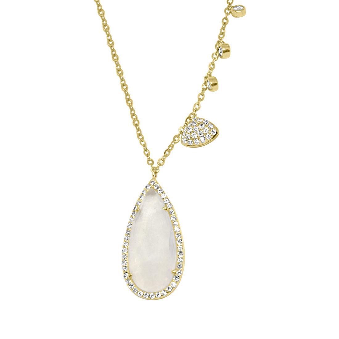 Collana in oro giallo con diamanti ct 0.33 e pietra - ORO&CO