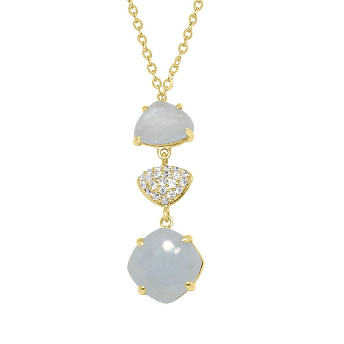 Collana in oro giallo con diamanti ct 0.105 e  pietre - ORO&CO