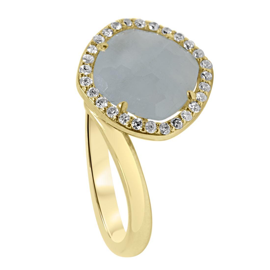 anello in oro giallo con pietra azzurra misura 13 - ORO&CO