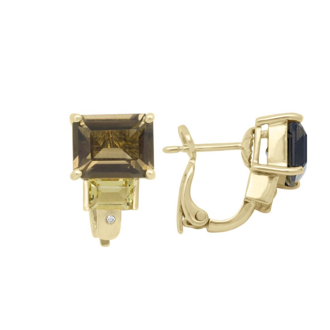 Orecchini in oro giallo con diamanti e pietre semipreziose - SALVINI