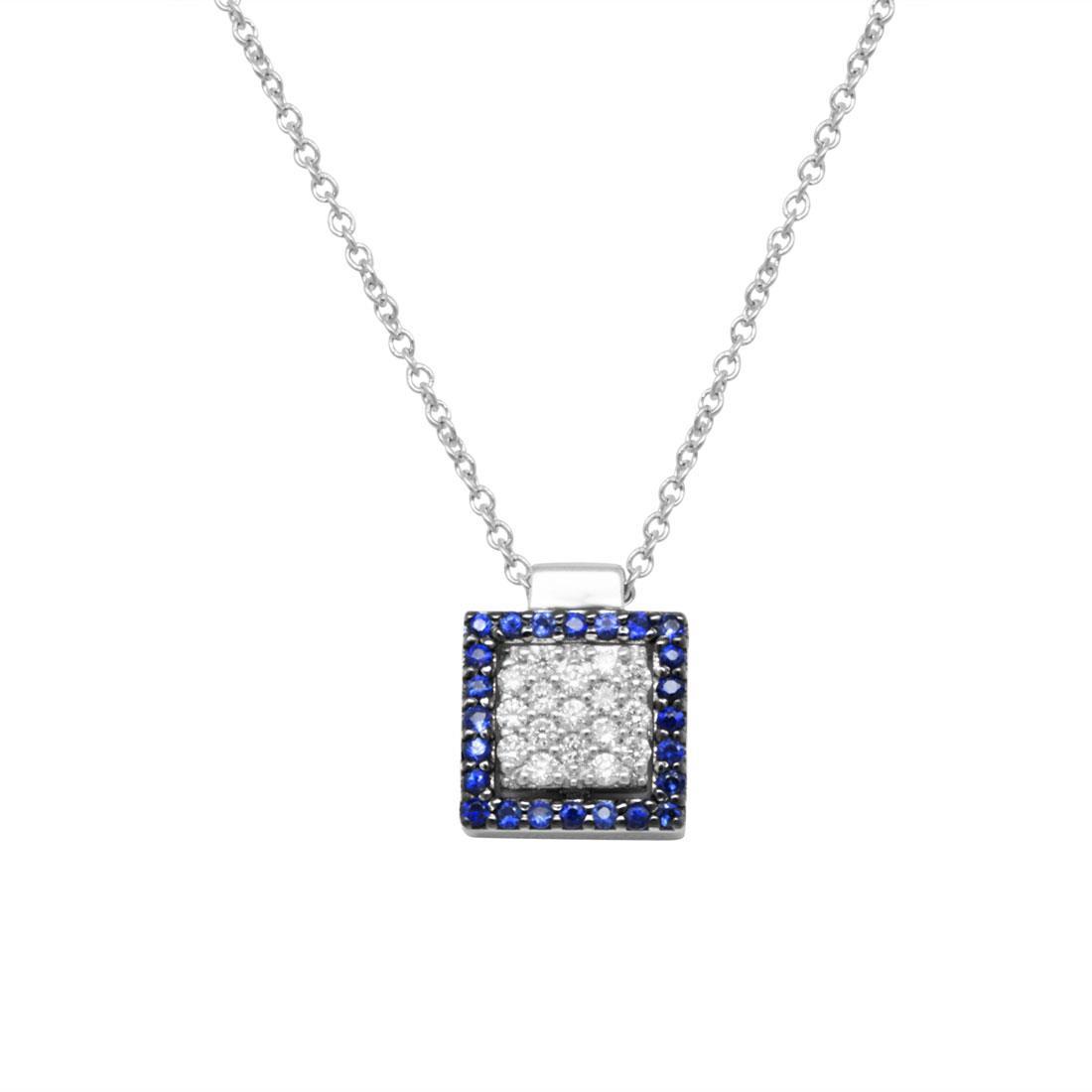 Collana in oro bianco pendente quadrato con diamanti ct 0.12 e zaffiri ct 0.14 - SALVINI