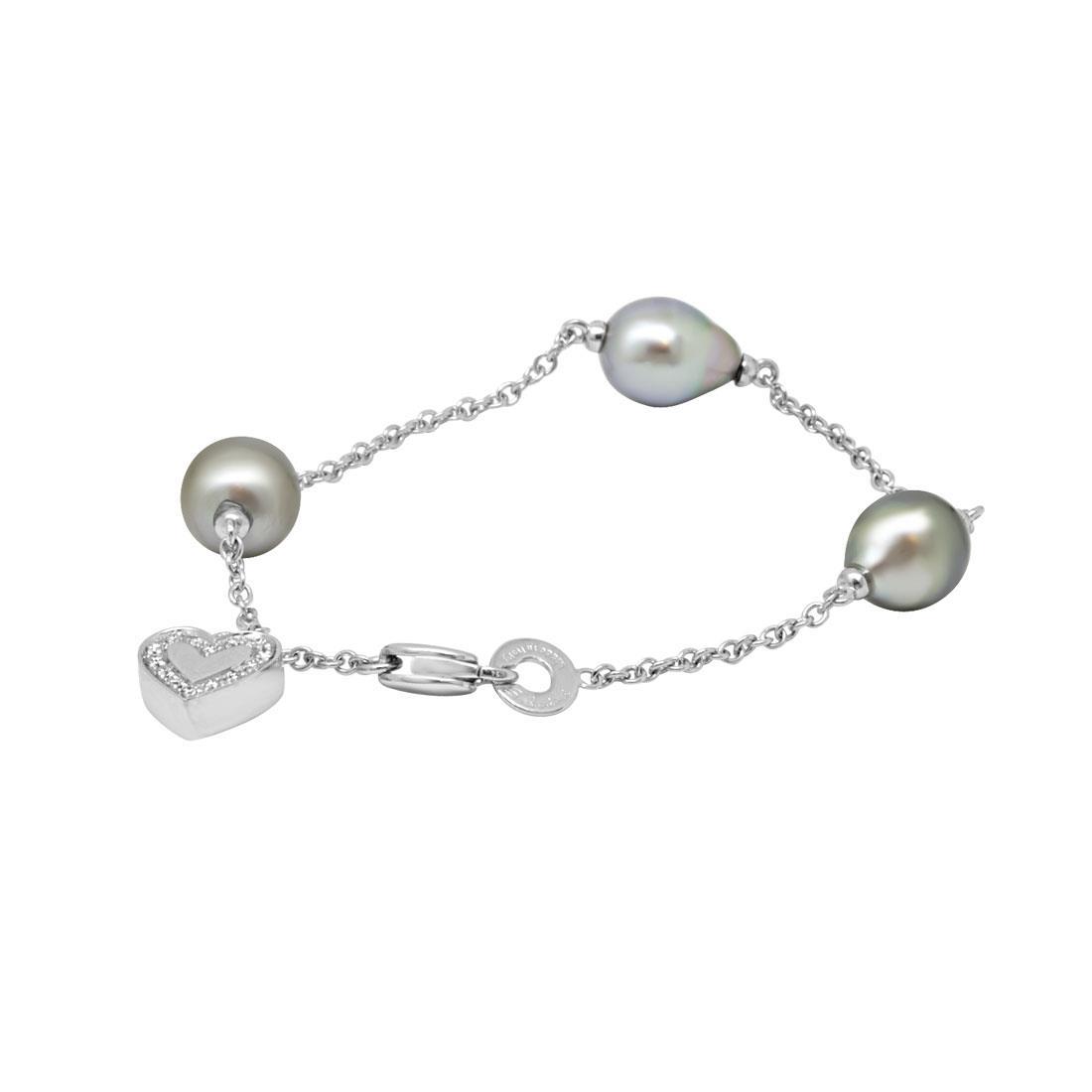 Bracciale in oro bianco con diamanti ct 0.12 e perle - SALVINI
