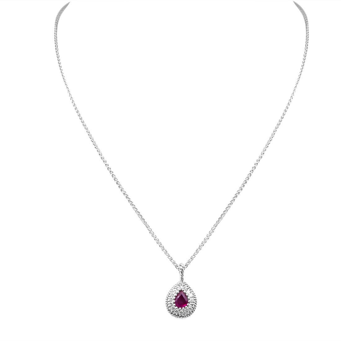 Collana in oro bianco con diamanti ct 0.18 e rubino ct 0.40 - SALVINI