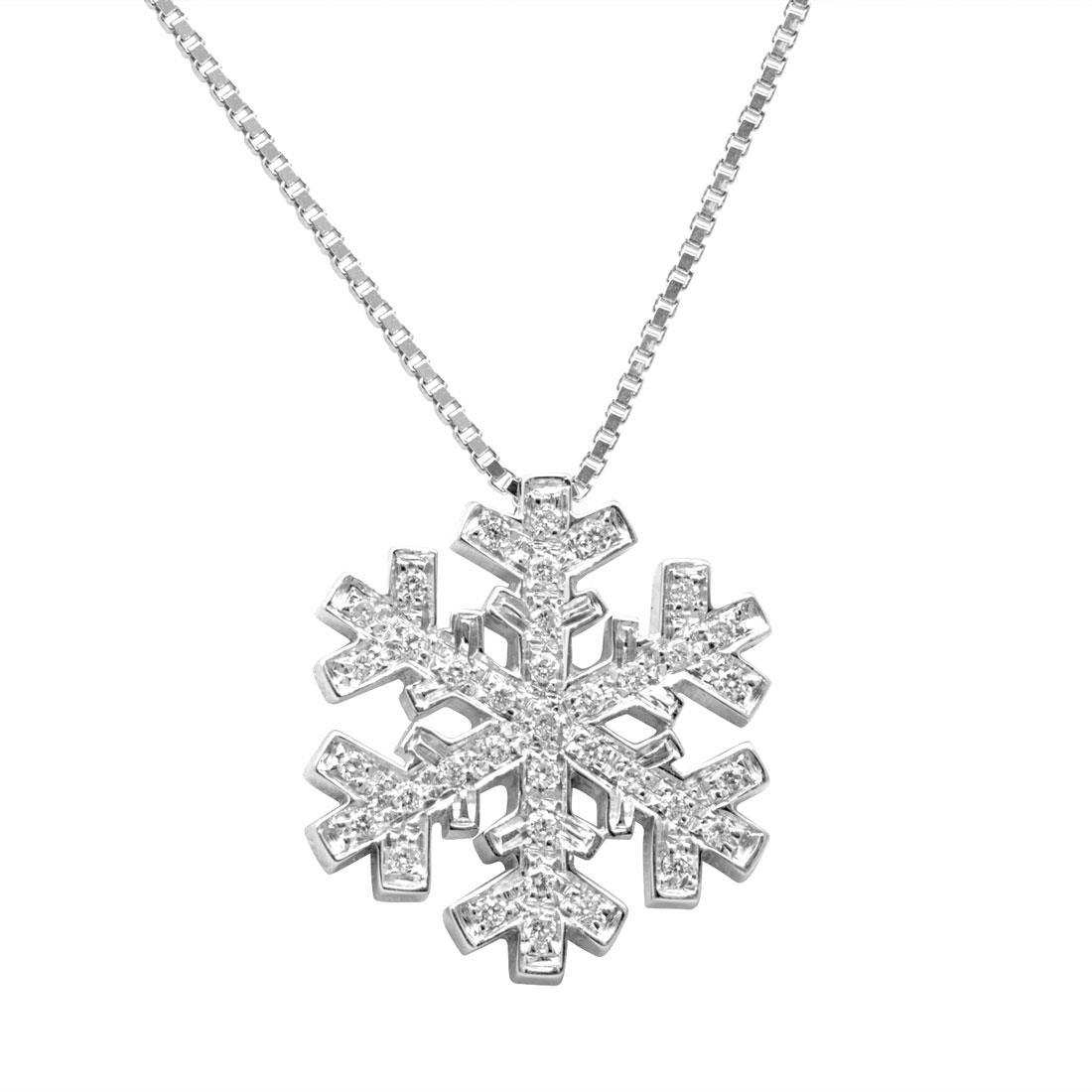 Collana in oro bianco pendente a forma di fiocco di neve con diamanti ct 0.19 - SALVINI
