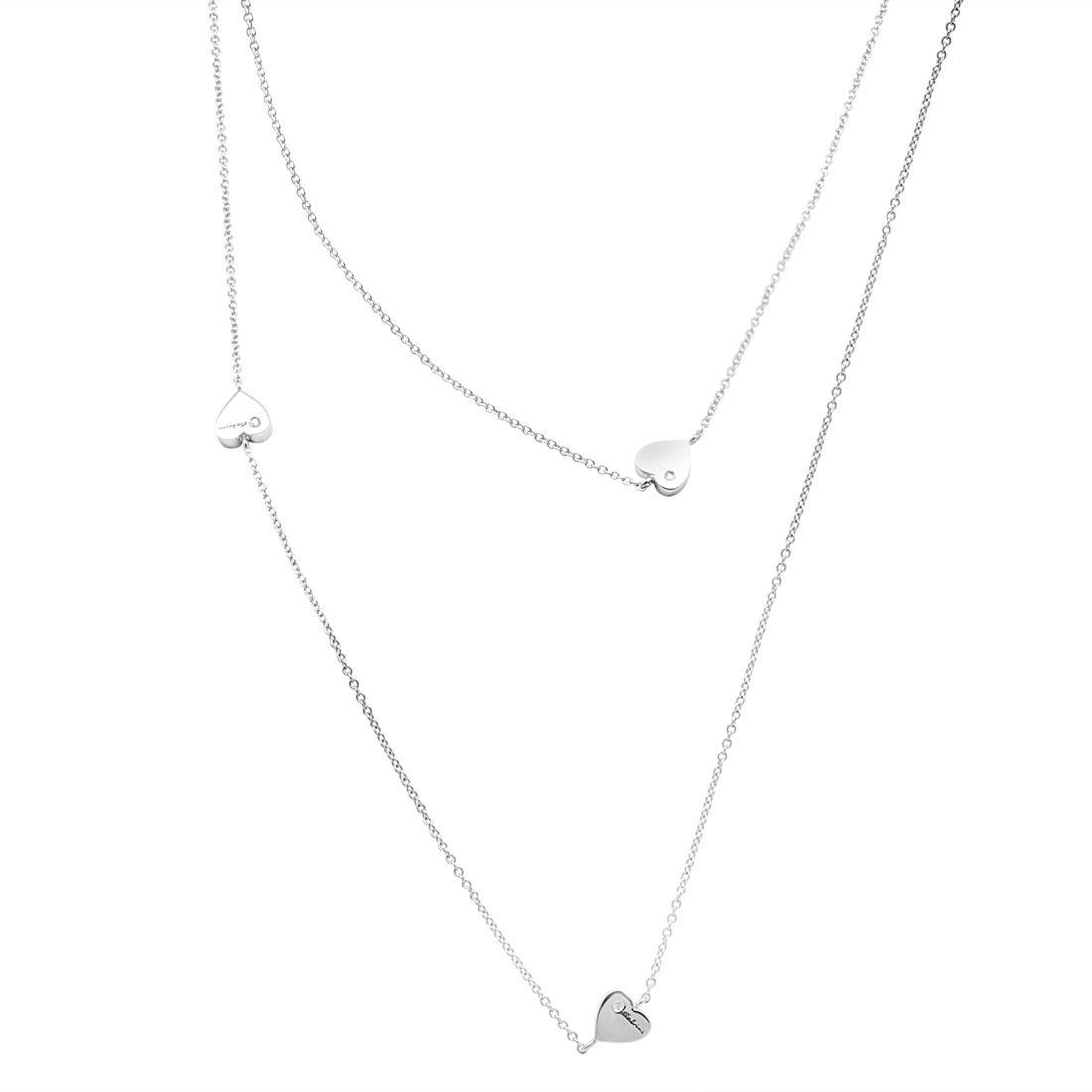 Collana in oro bianco con cuori e diamanti ct 0.282, lunghezza 90cm - SALVINI