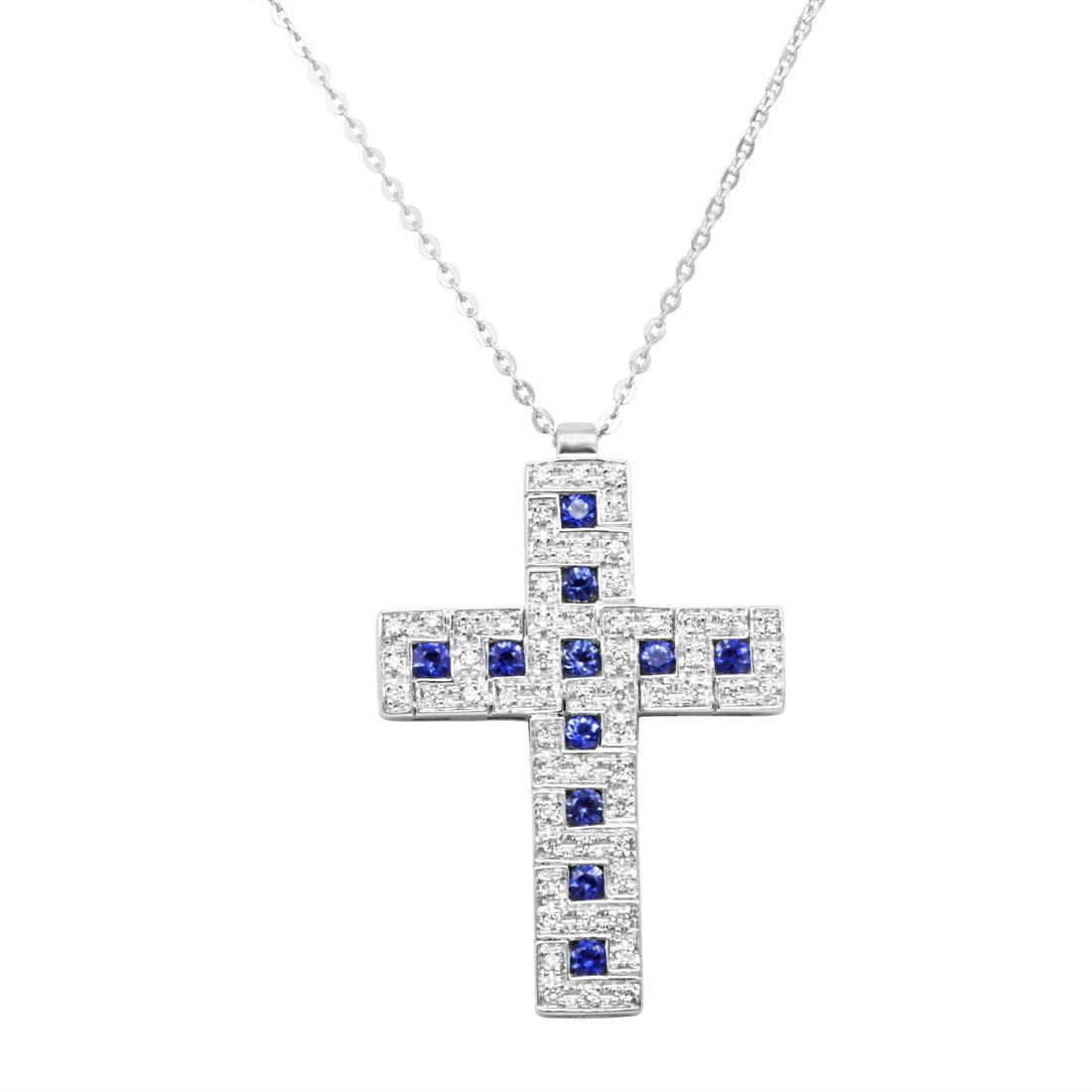 Collana  croce con diamanti ct 0.23 e zaffiri ct 0.44 - SALVINI