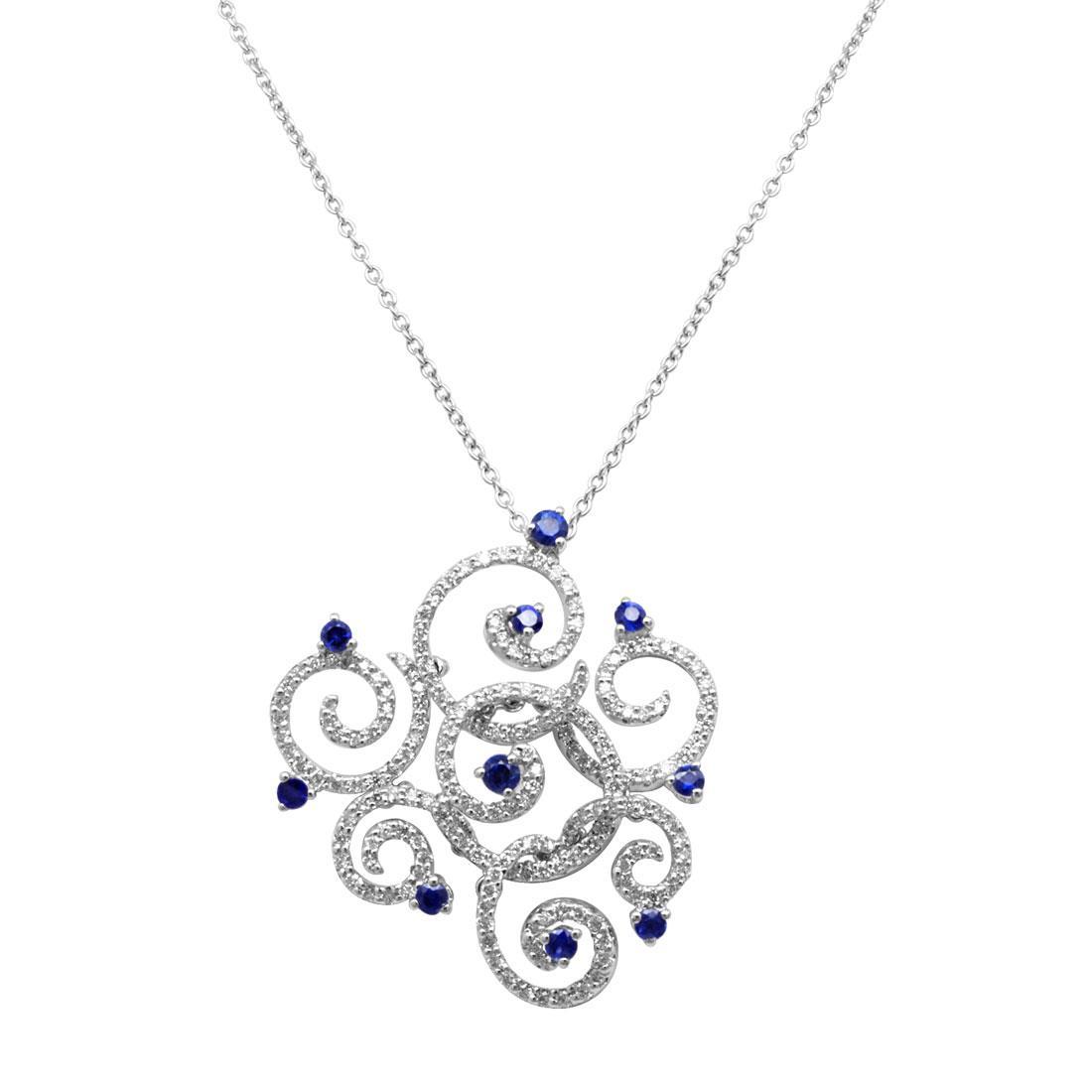Collana in oro bianco con diamanti ct 1.00 e zaffiri - SALVINI