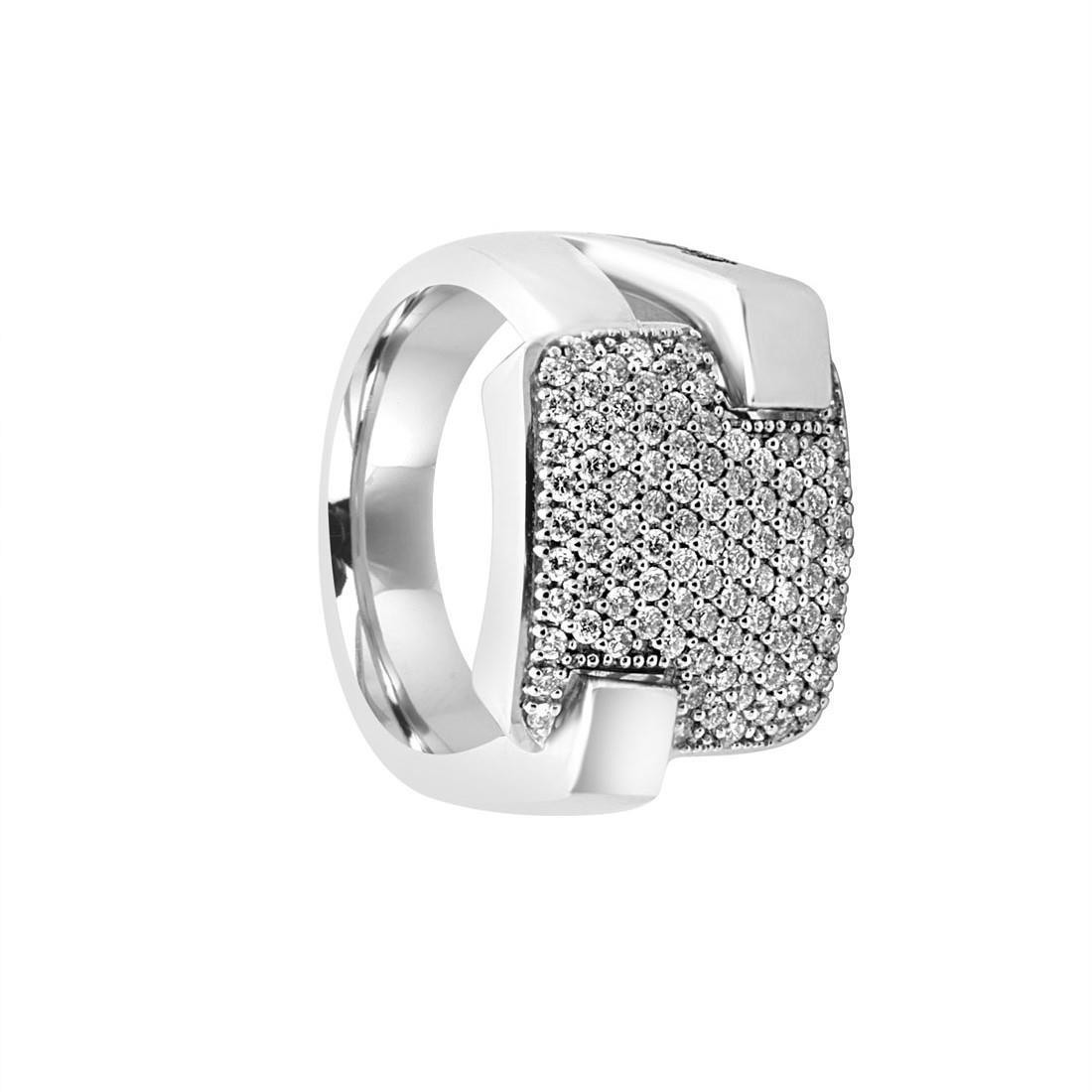 Anello in oro bianco con pavé di diamanti - SALVINI