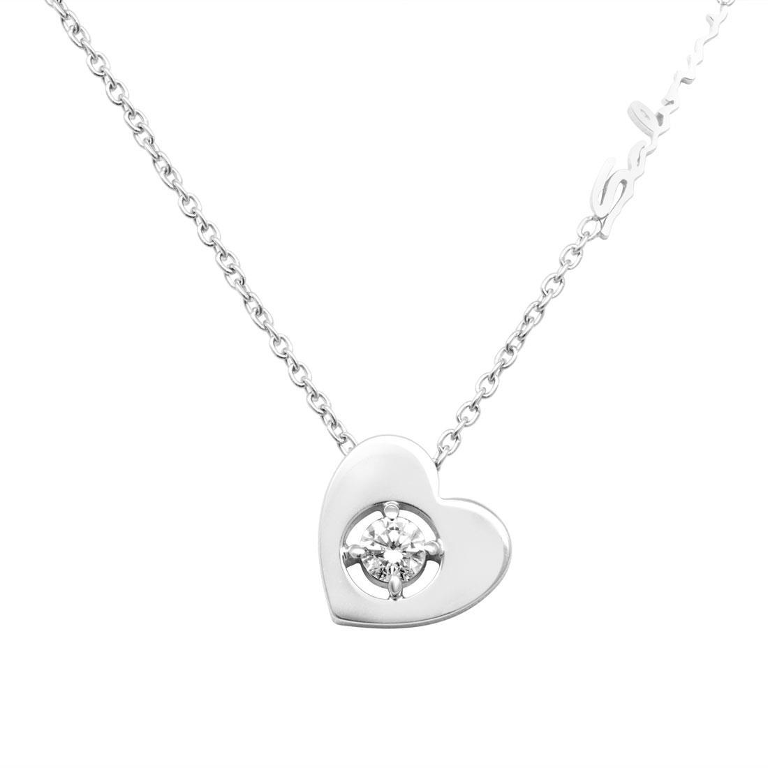 Collana in oro bianco con diamanti ct 0.23 - SALVINI