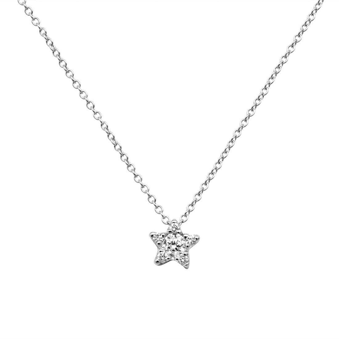 Collana in oro bianco con diamanti ct 0.150 - SALVINI