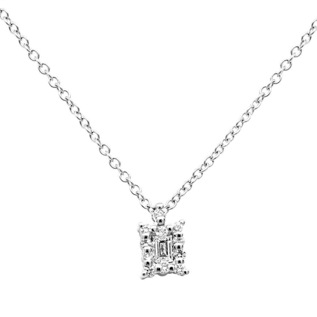 Collana in oro bianco con diamante ct 0.10 - SALVINI