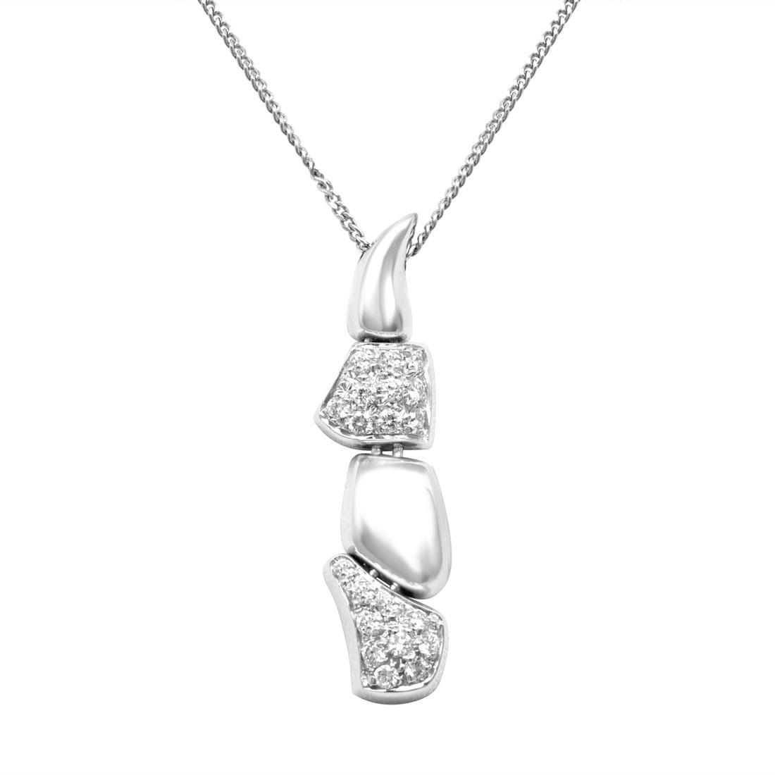 Collana in oro bianco con pendente e diamanti ct 0.158 - SALVINI