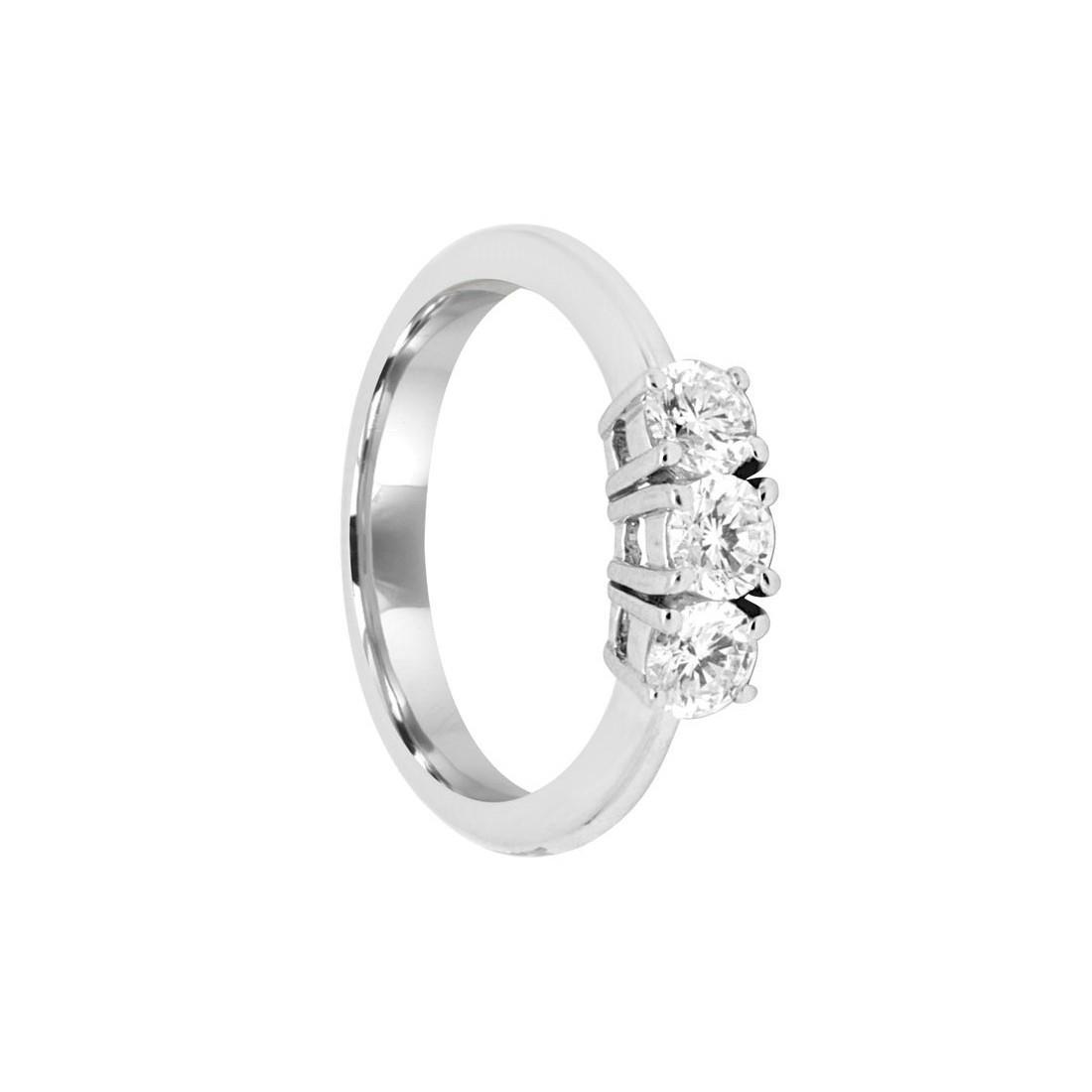 Anello in oro bianco con diamanti ct 0.75 - SALVINI