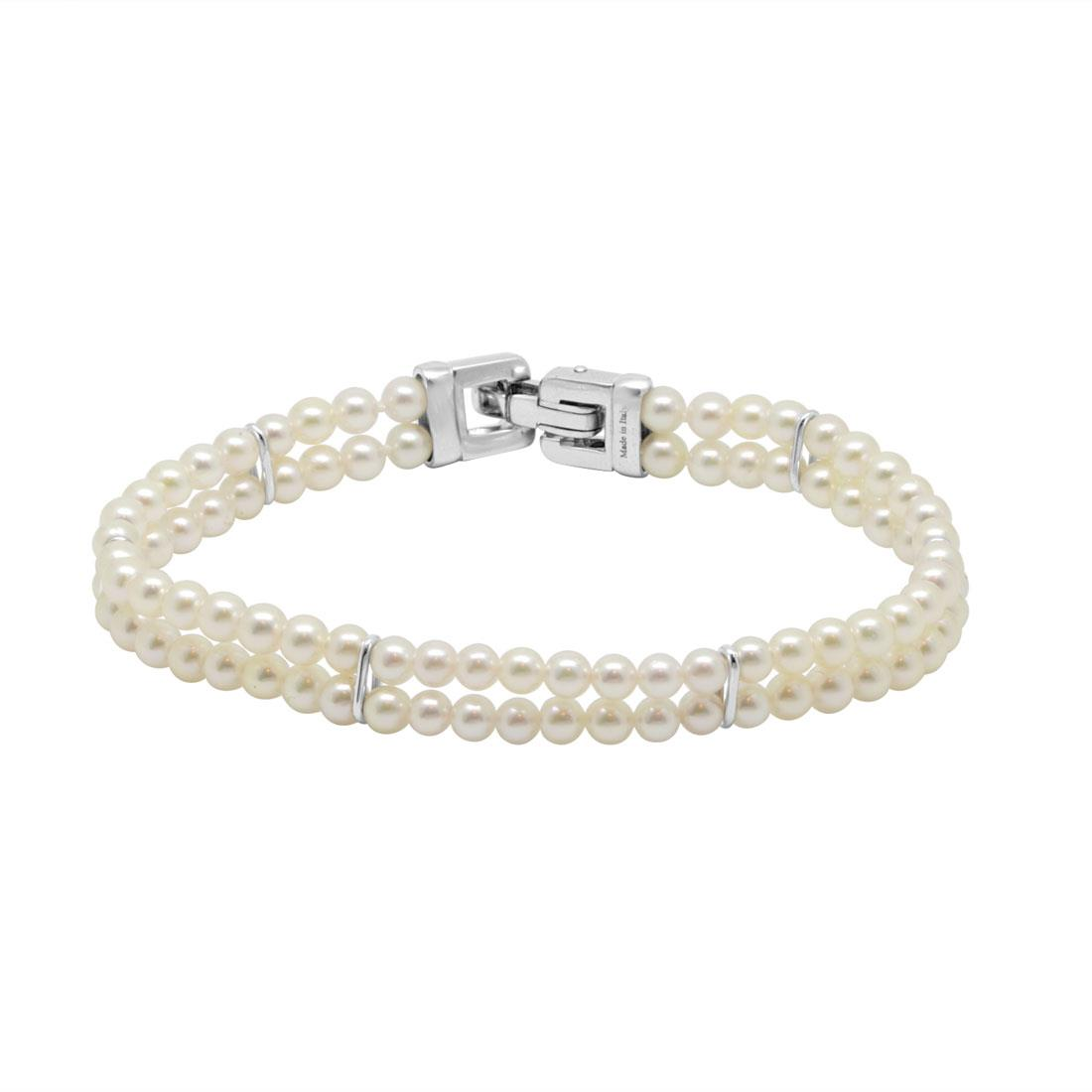 Bracciale di perle 2 fili e oro bianco - SALVINI