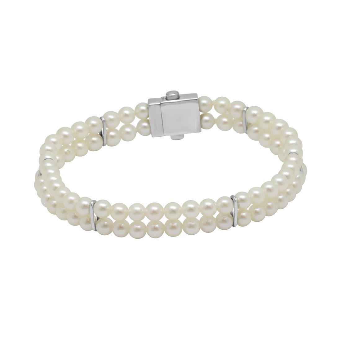 Bracciale di perle 2 file in oro bianco - SALVINI