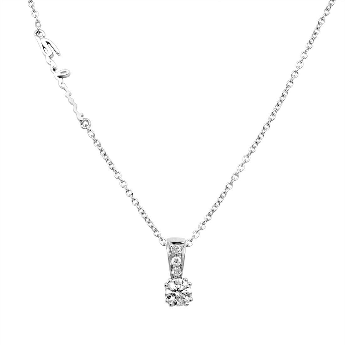 Collana in oro bianco con diamante ct 0.24 - SALVINI