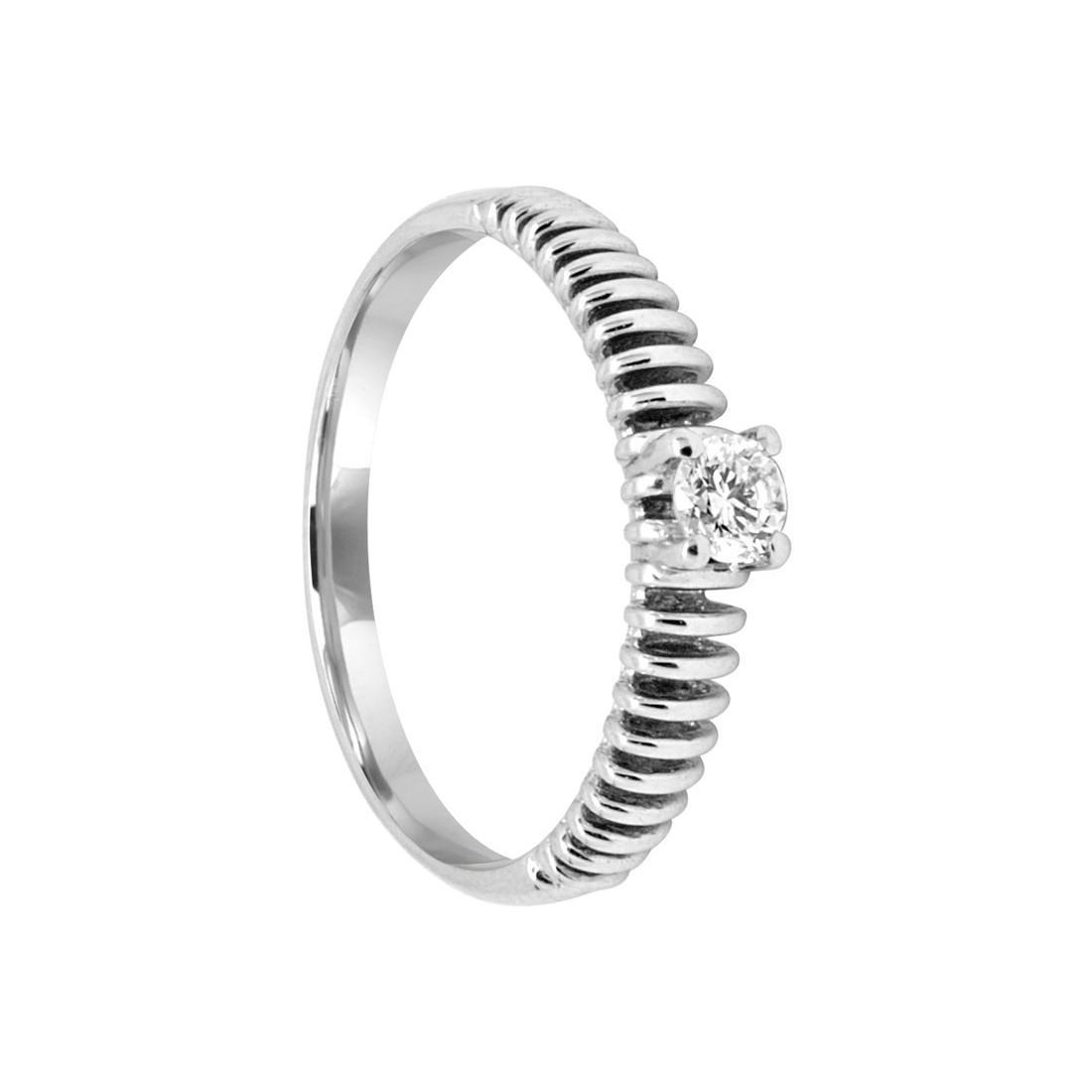 Anello in oro bianco con diamante ct 0.18, misura 15 - SALVINI