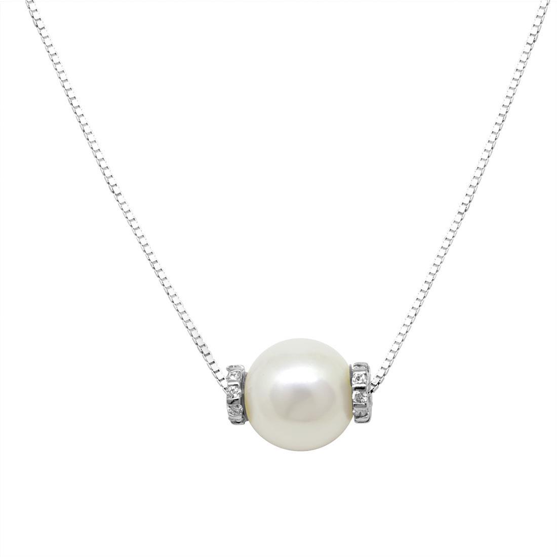 Collana in oro bianco con perla bianca e diamanti ct 0.12 - SALVINI