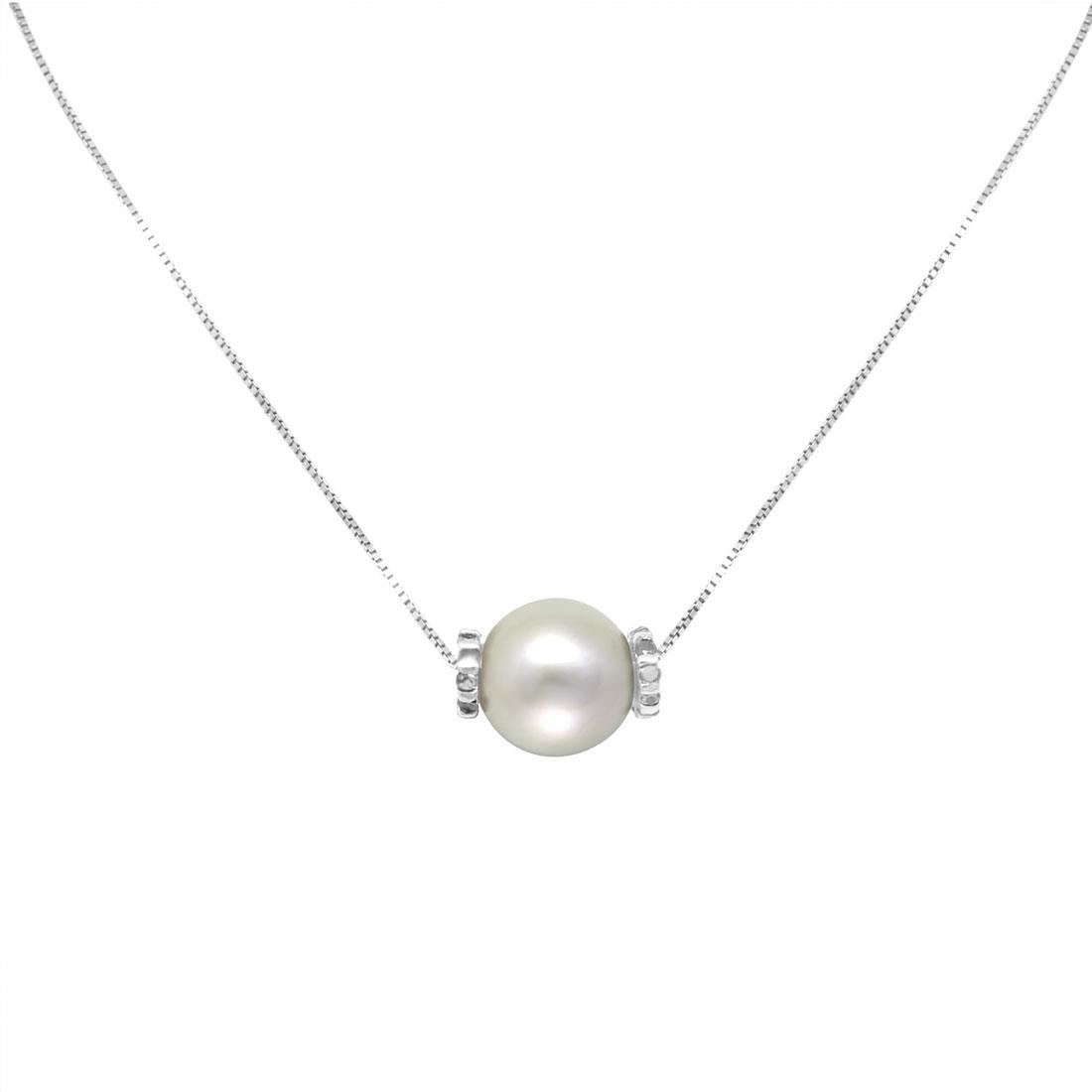 Collana in oro bianco con perla grigia e diamanti ct 0.15 - SALVINI