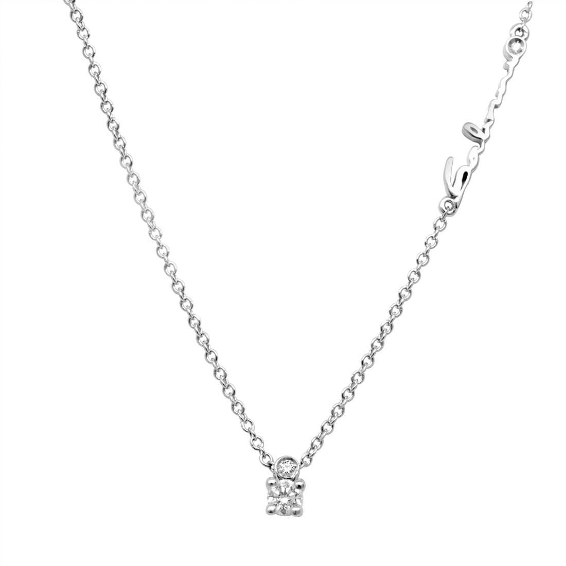 Collana punto luce in oro bianco con diamante ct 0.09 - SALVINI