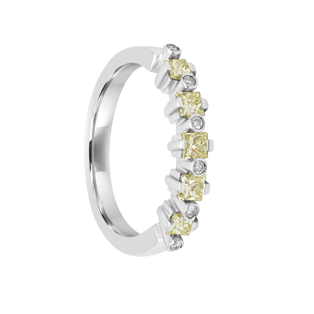 Anello in oro bianco con diamanti gialli ct 0.70 - SALVINI