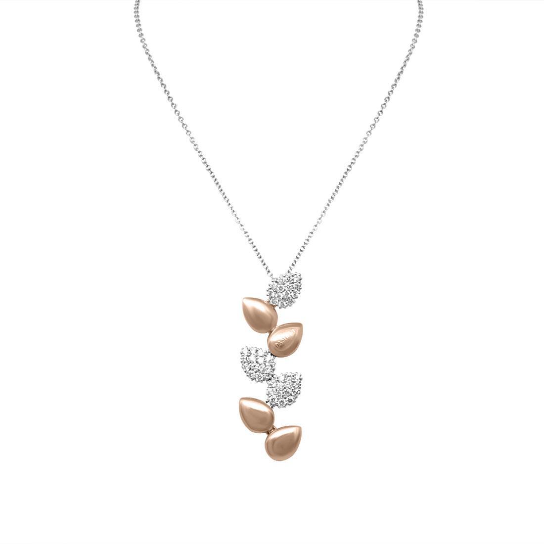Collana Damiani in oro bianco e oro rosa con diamante ct 0,77 - DAMIANI