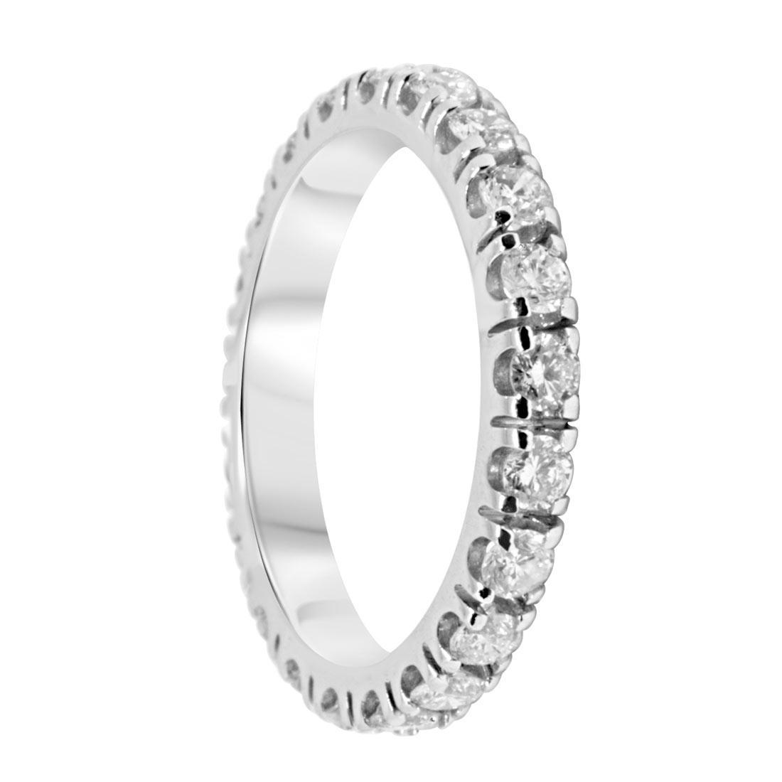 Anello veretta Oro & Co in oro bianco con diamanti ct 1,05 mis 12 - ORO&CO