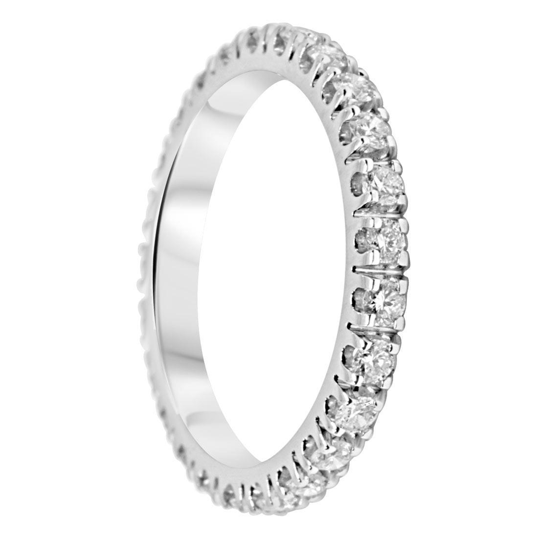 Anello veretta Oro & Co in oro bianco con diamanti ct 0,75  - ORO&CO
