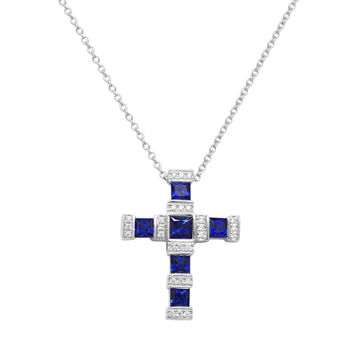 Collana croce con diamanti ct 0.08 e zaffiri ct 1.00 - SALVINI