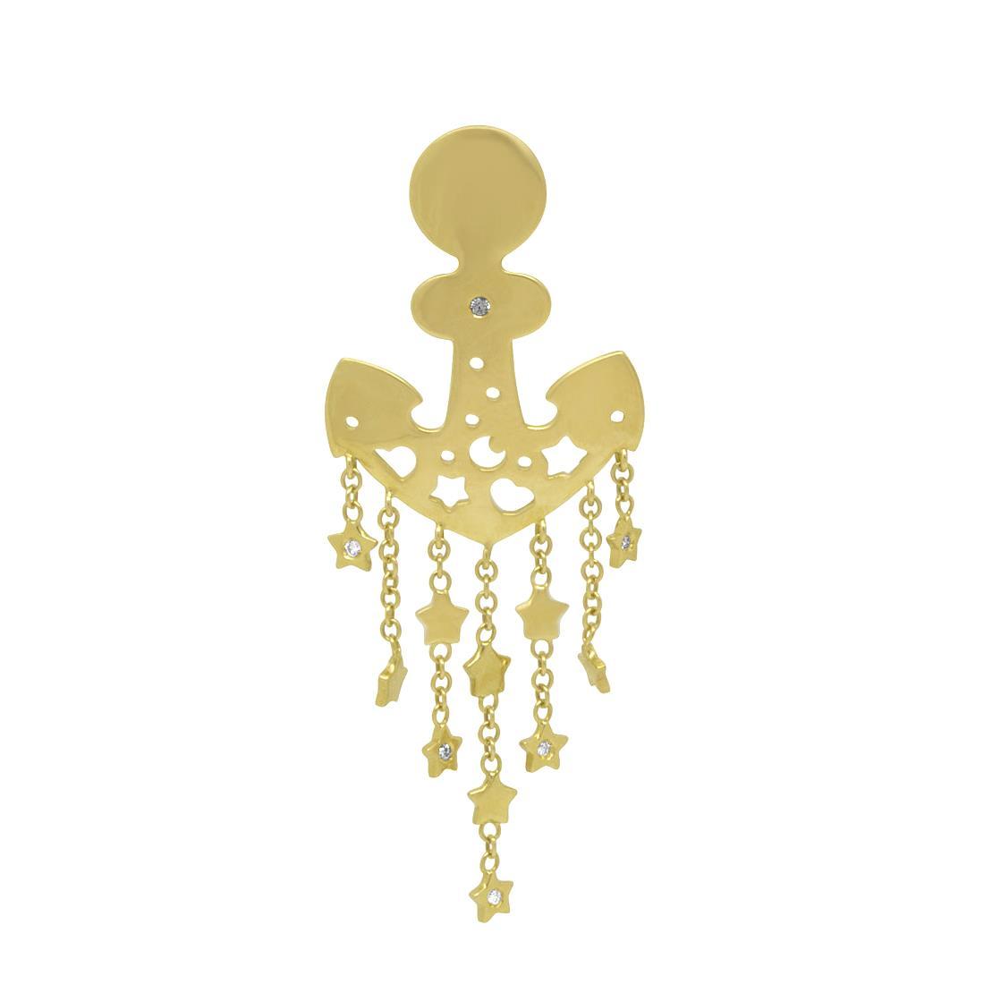 Monoorecchino in oro giallo e diamanti - PASQUALE BRUNI