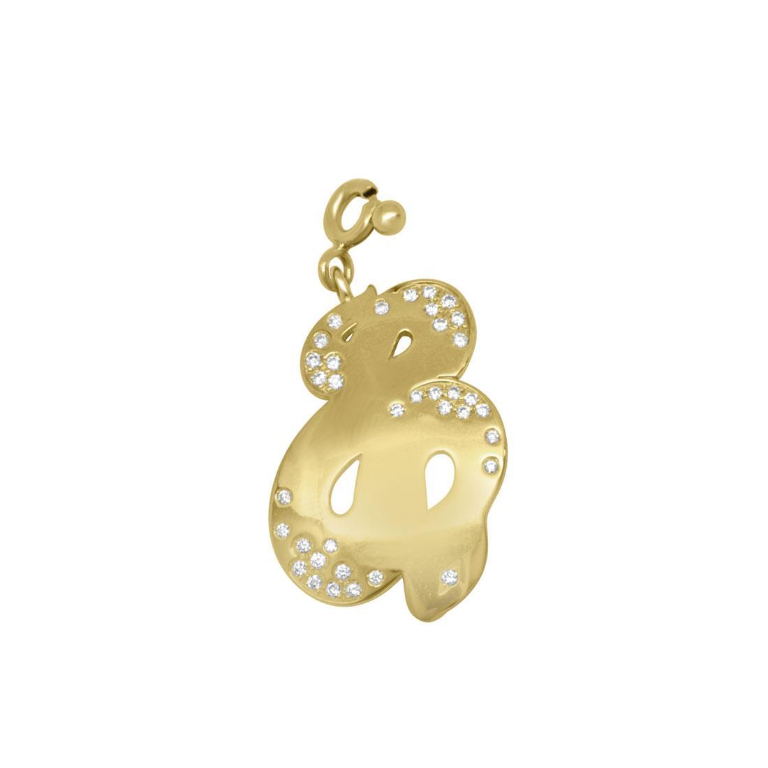Ciondolo in oro giallo con diamanti ct 0.23, misura 1,5 x 3cm (l x h) - PASQUALE BRUNI