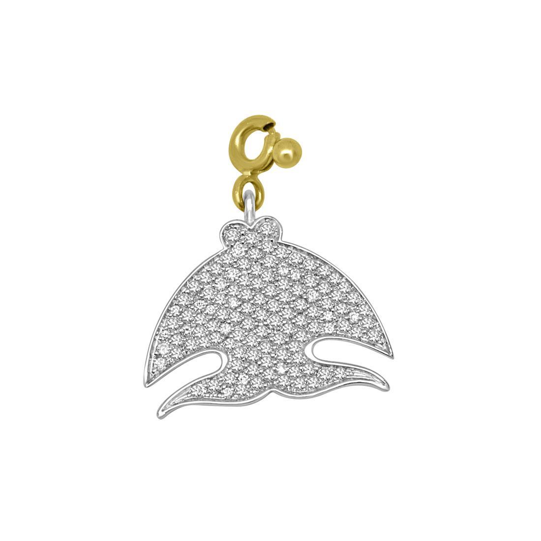 Ciondolo in oro bianco e giallo con diamanti ct 0.66, misura 2x2cm - PASQUALE BRUNI