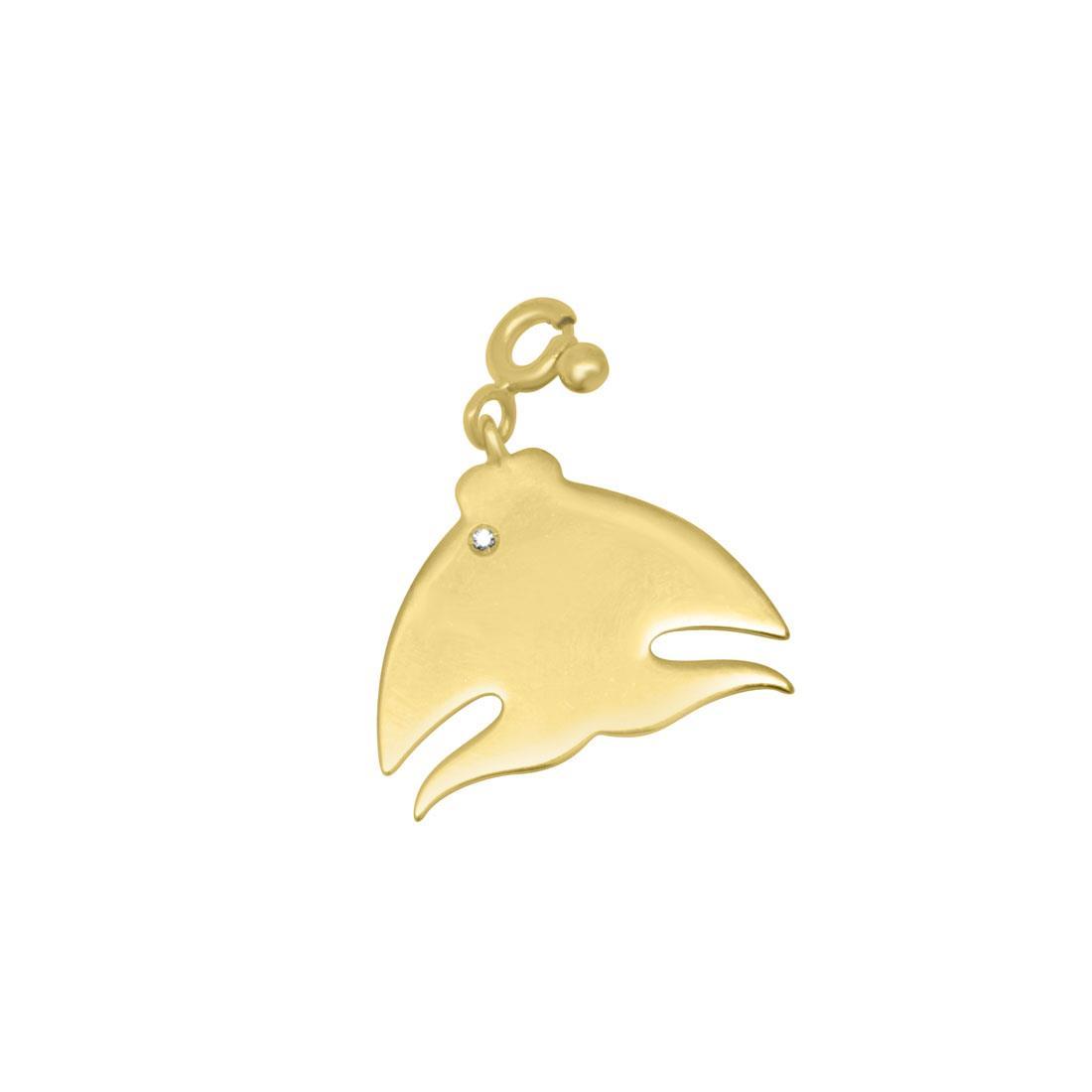 Ciondolo in oro giallo con diamante ct 0.01, misura 2 x2 cm - PASQUALE BRUNI