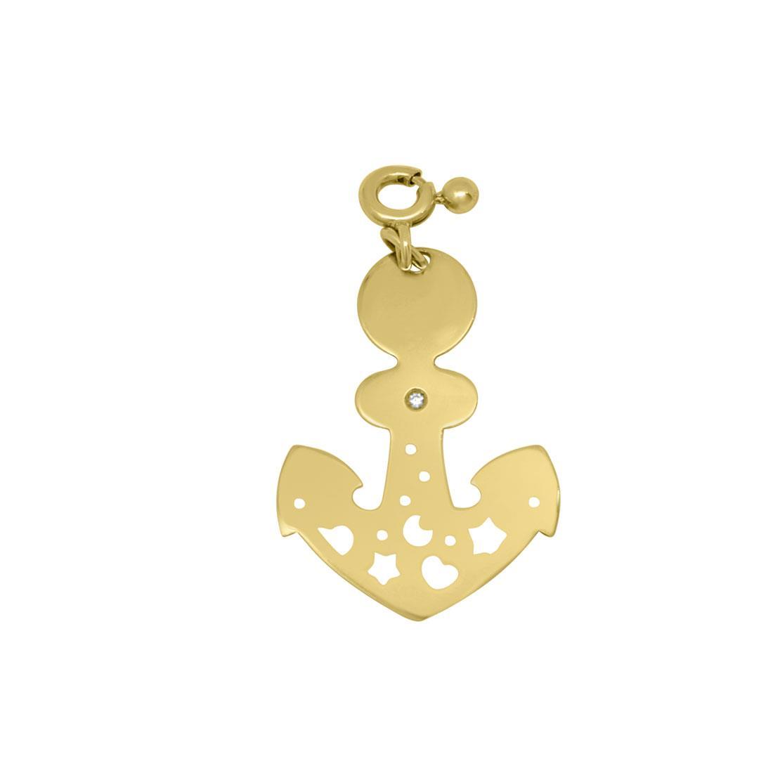 Ciondolo in oro giallo con diamante ct 0.01, misura 2 x 3,5cm - PASQUALE BRUNI