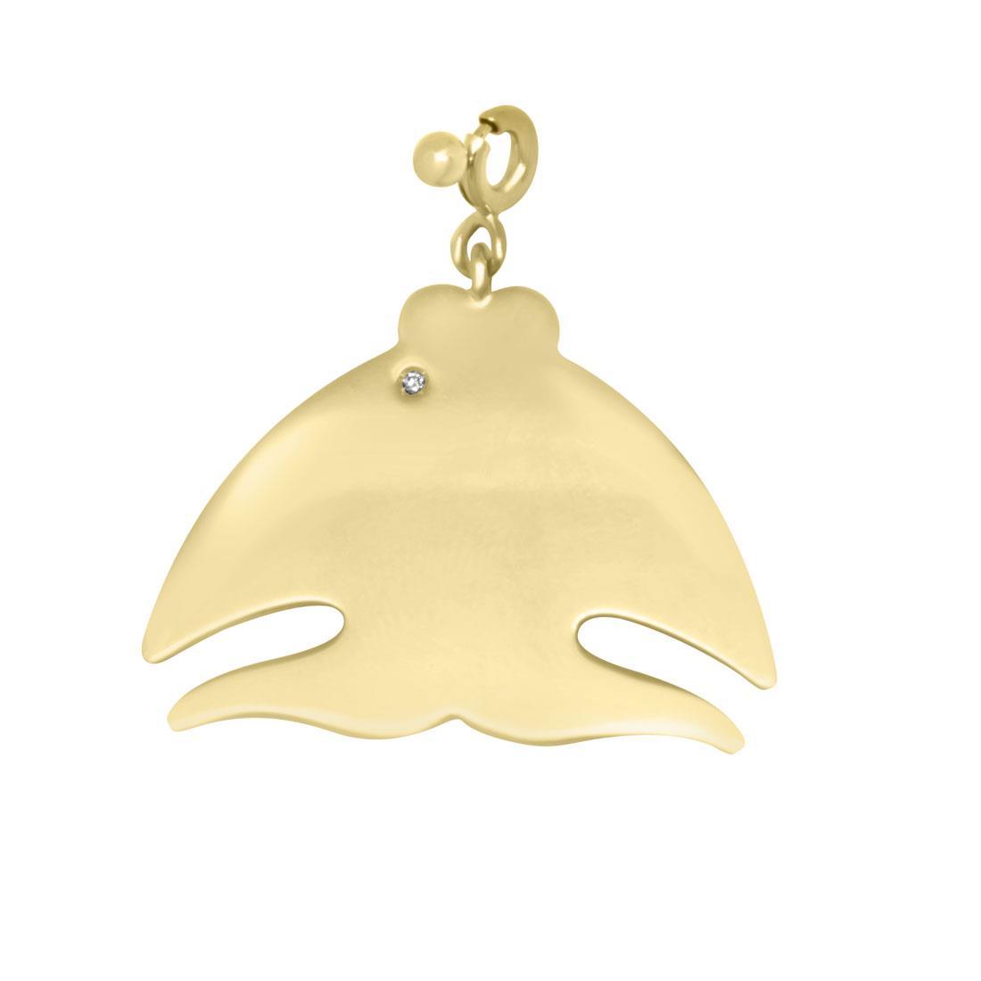 Ciondolo in oro giallo pesce con diamante - PASQUALE BRUNI