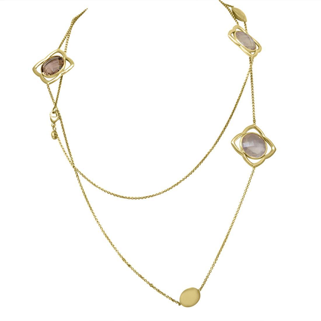 Collana in argento dorato con pietre viola - ZOCCAI