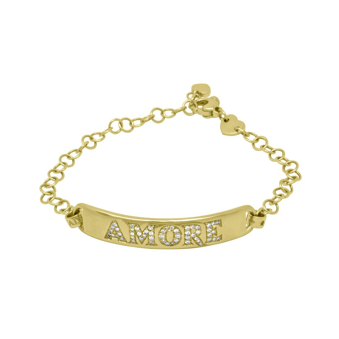 Bracciale in oro giallo Amore con diamanti - PASQUALE BRUNI