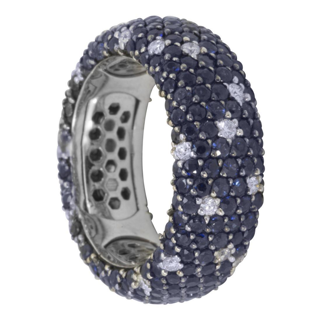 Anello in oro con diamanti ct 0.50 e zaffiri blu ct 5.30 mis 15 - ALFIERI & ST. JOHN