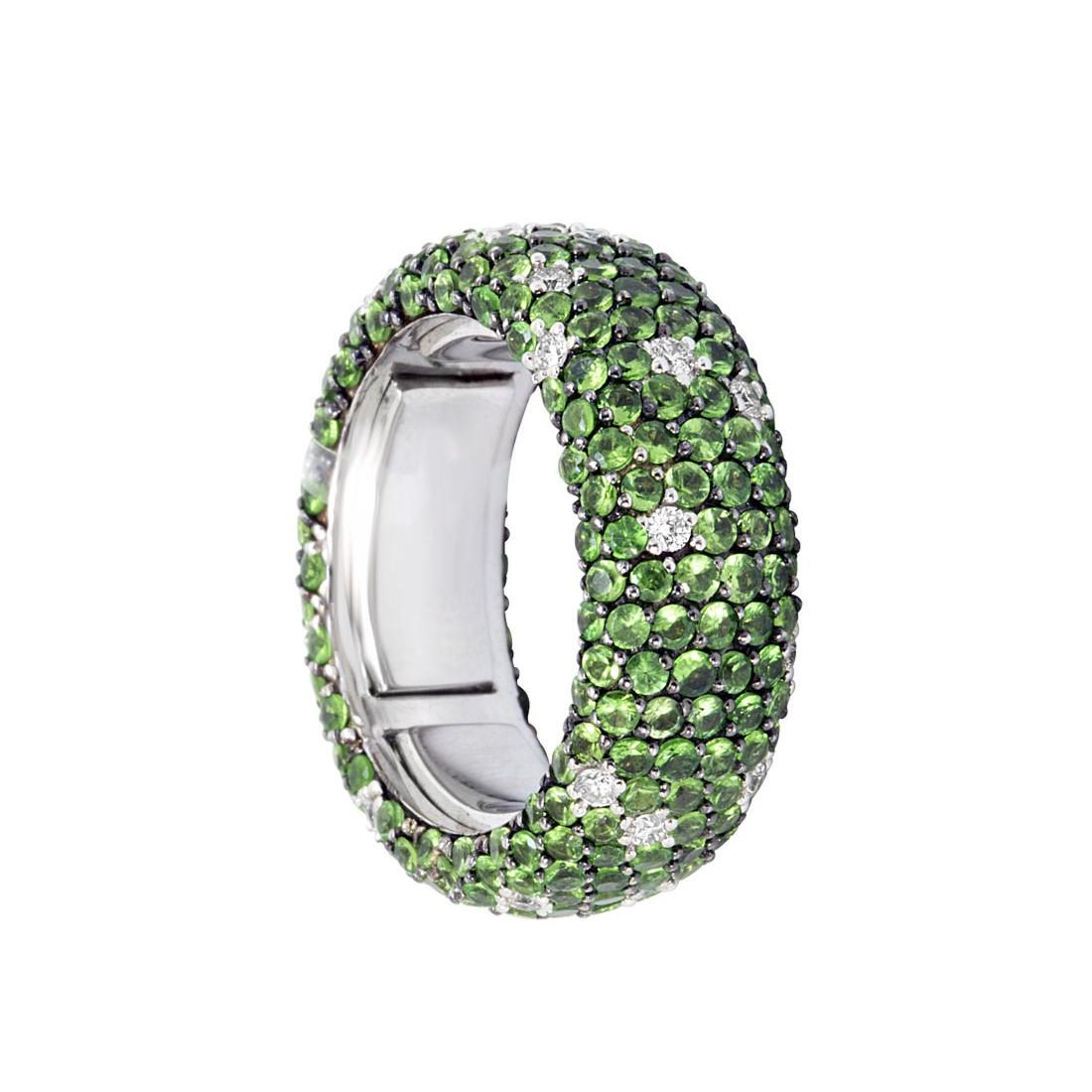 Anello eternity in oro bianco con diamanti ct 0.50 e tsavorite ct 4.60 - ALFIERI ST JOHN