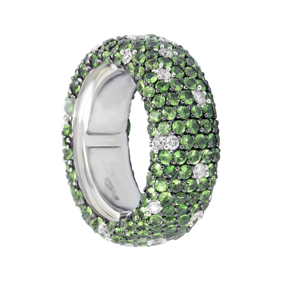 Anello eternity in oro bianco con diamanti ct 0.45 e tsavorite ct 4.40 - ALFIERI ST JOHN
