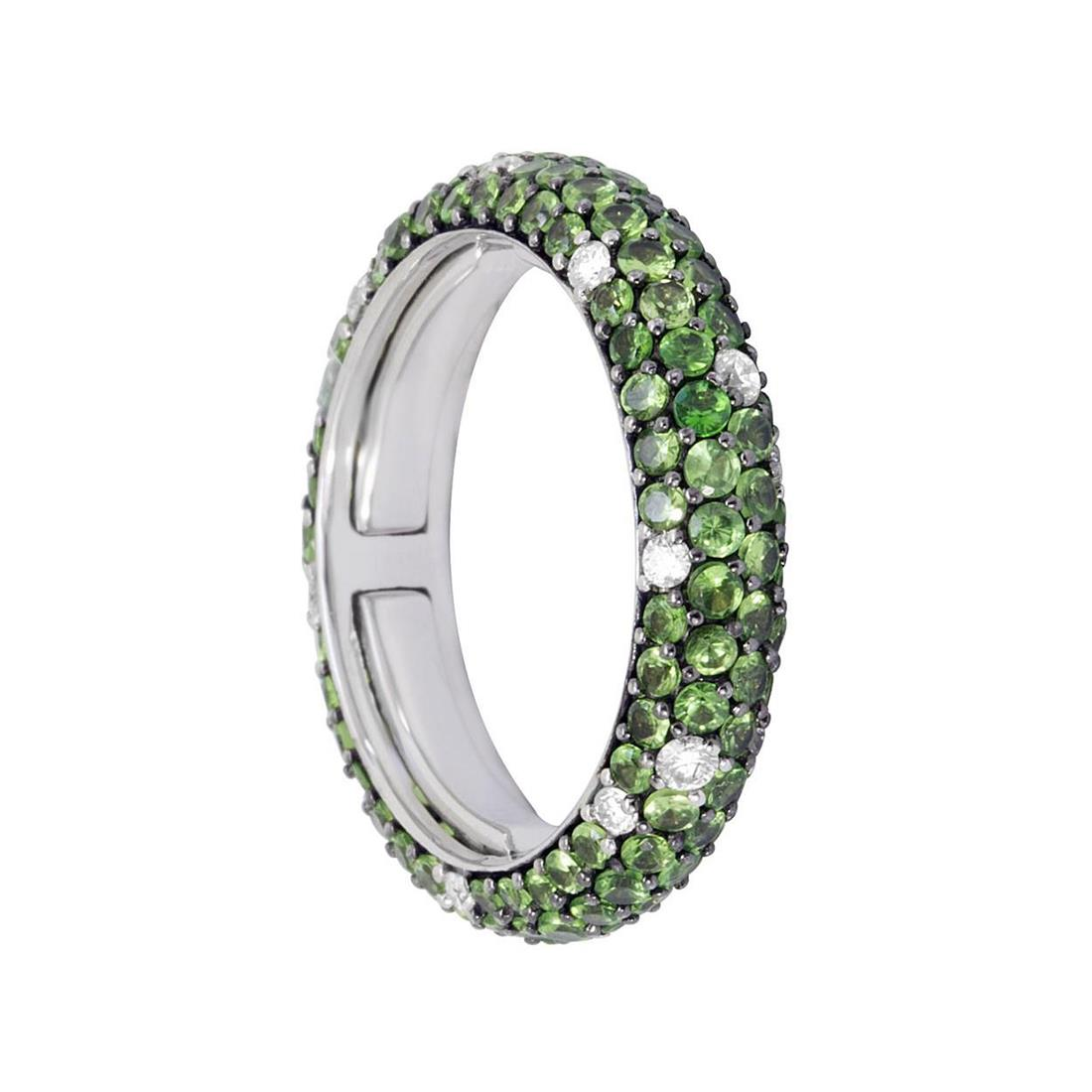 Anello eternity in oro bianco con diamanti ct 0.35 e tsavorite ct 2.60 - ALFIERI ST JOHN