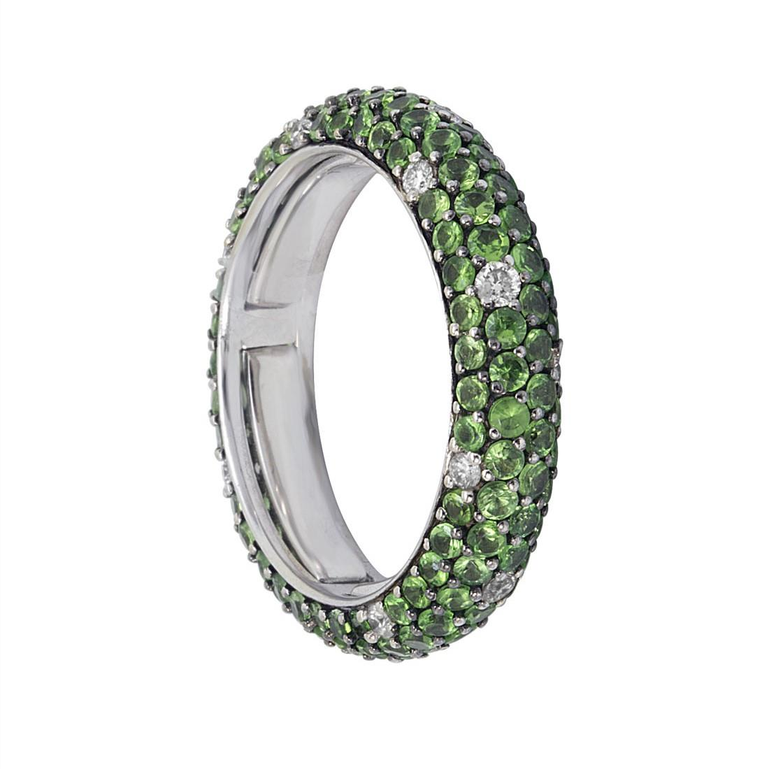Anello eternity in oro bianco con diamanti ct 0.35 e tsavorite ct 3.00 - ALFIERI ST JOHN