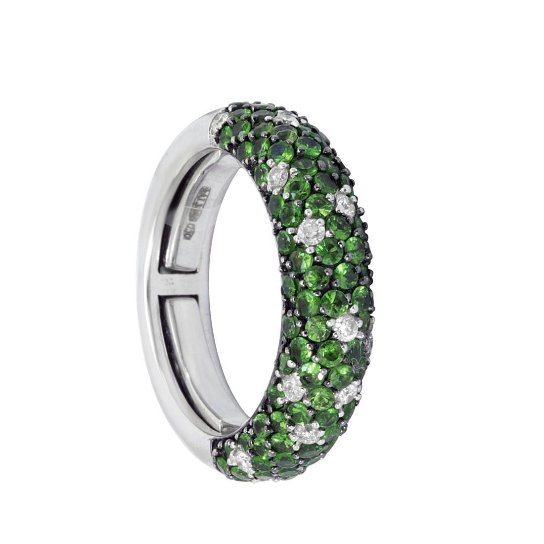 Anello eternity in oro bianco con diamanti ct 0.30 e tsavorite ct 1.95 - ALFIERI ST JOHN