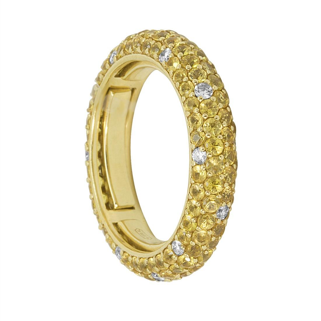 Anello eternity in oro giallo con diamanti ct 0.35 e zaffiri ct 2.85 - ALFIERI ST JOHN
