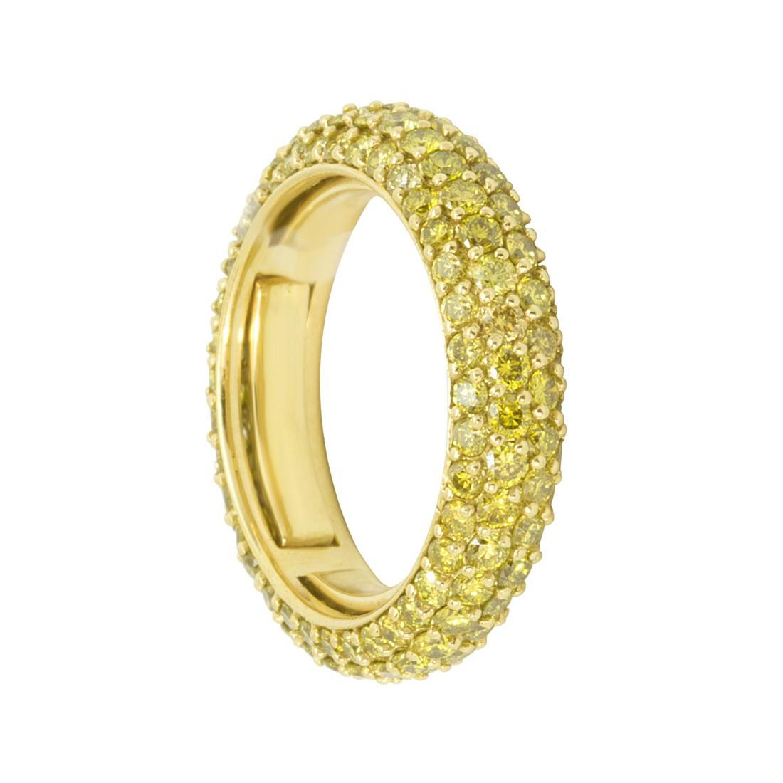 Anello eternity in oro giallo con diamanti gialli ct 2.50 - ALFIERI ST JOHN